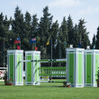 Green Horse Jumping Fence — Stock Photo