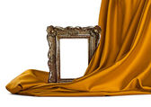 Wooden frame and silk cover — Stock Photo
