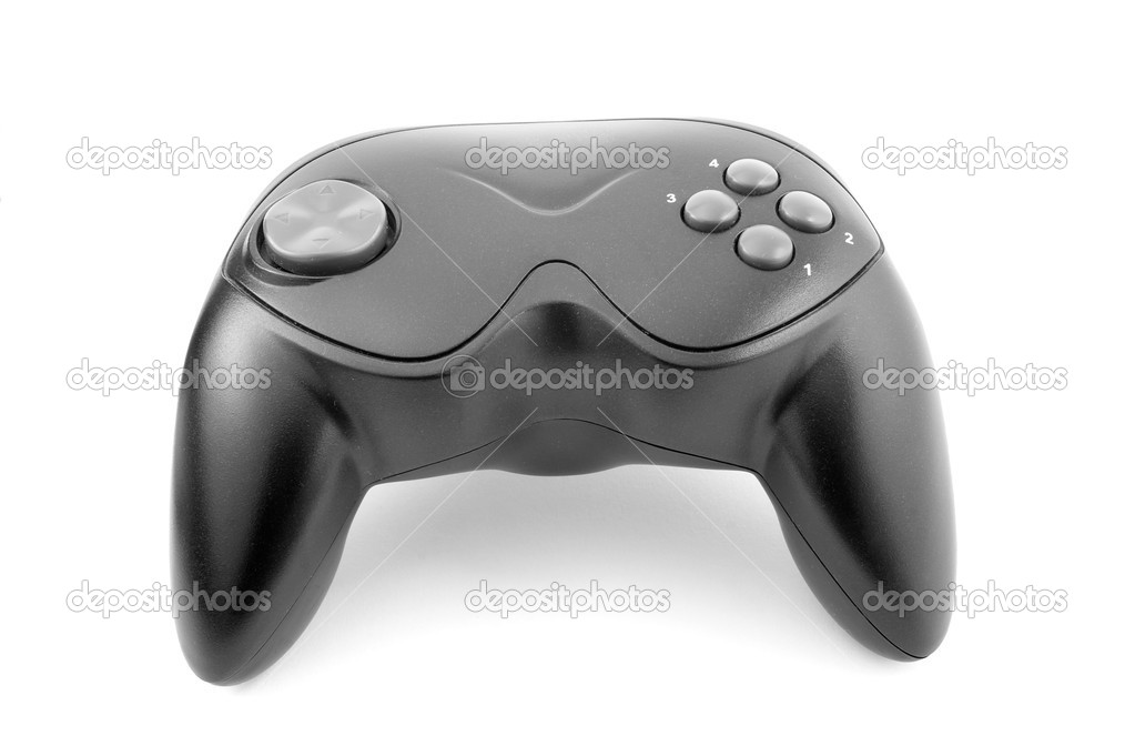 Close up of video game joystick on white background with clipping path, shadow not included  Stock Photo #10802330
