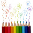 Colorful pencils tracing — Stock Photo