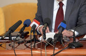 Business conference microphones — Stock Photo