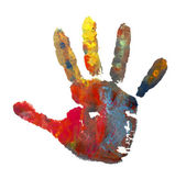 Color painted hand mark 1 — Stock Photo