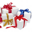Red ribbon box present gift decoration — Stock Photo #11083644