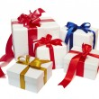 Red ribbon box present gift decoration — Stock Photo