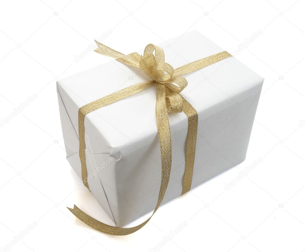 Close up of white present bow with  ribbon on white background on white background with clipping path  Stock Photo #11086835