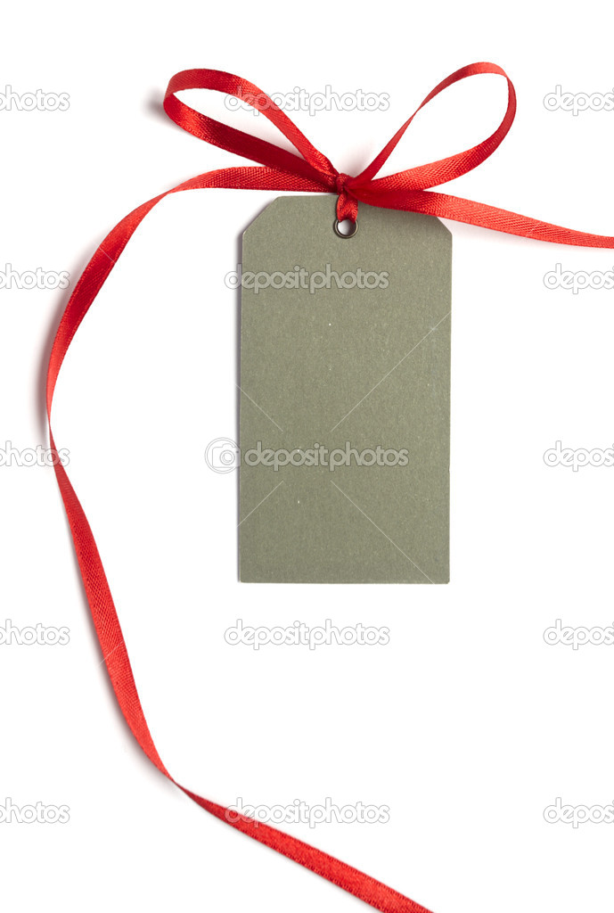 Close up of card note with  red ribbon on white background on white background with clipping path  Stock Photo #11091045
