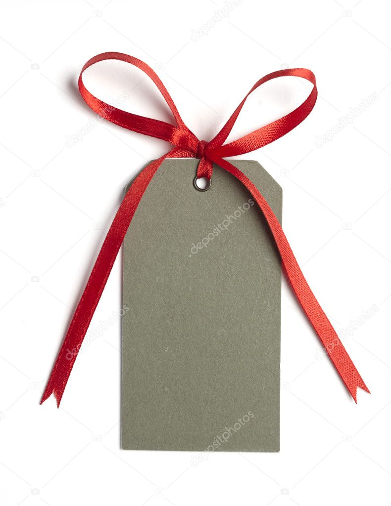 Close up of card note with  red ribbon on white background on white background with clipping path — Stock Photo #11091140