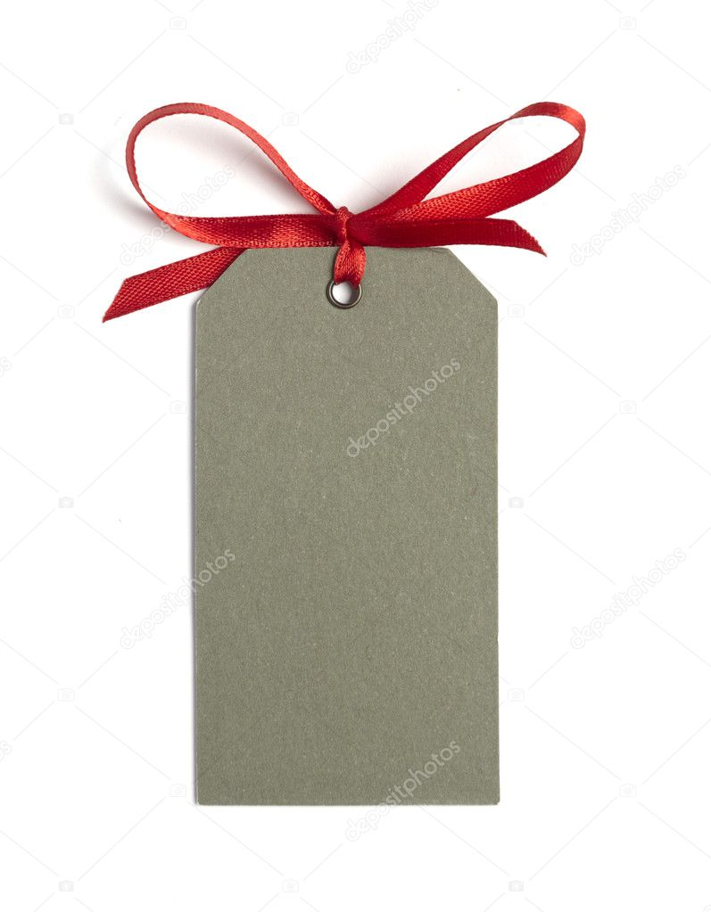 Close up of card note with  red ribbon on white background on white background with clipping path — Stock Photo #11091178