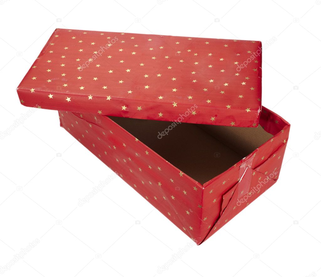 Close up of red present box  on white background with clipping path — Foto Stock #11165537