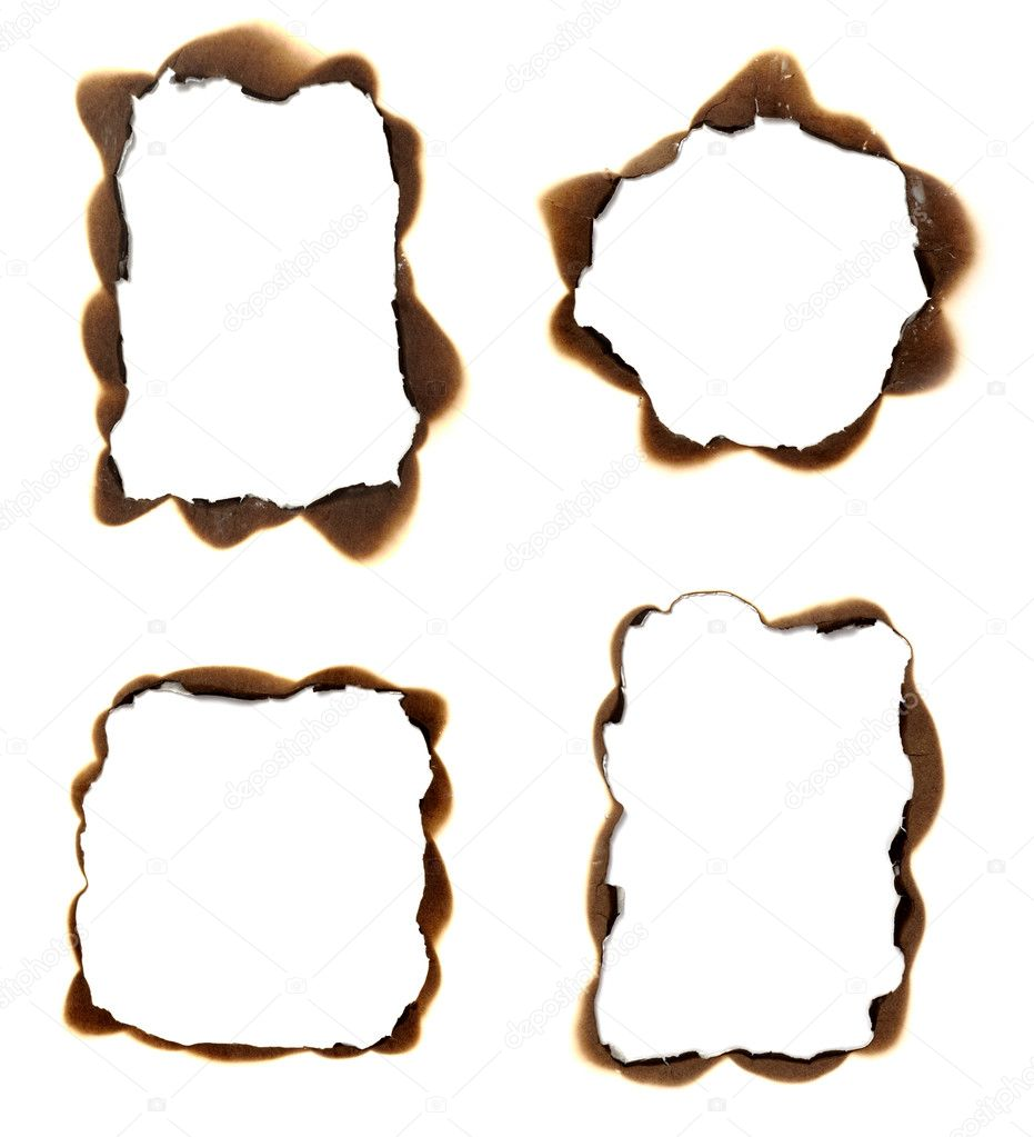 Collection of burnt paper holes on white background. each one is in full cameras resolution — Stock Photo #11166827