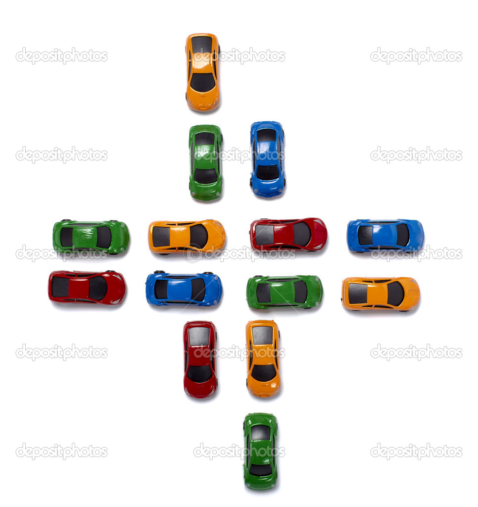 Toy cars in a row isolated on white background with clipping path — Stock Photo #11193721