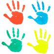 Hand print color art craft trace paint — Stok fotoğraf