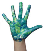 Color painted child hand art craft — Stock Photo