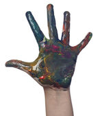 Color painted child hand art craft — Zdjęcie stockowe