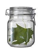 Cam kavanoz mutfak çanak yaprak yeşil koruma ekoloji — Stok fotoğraf