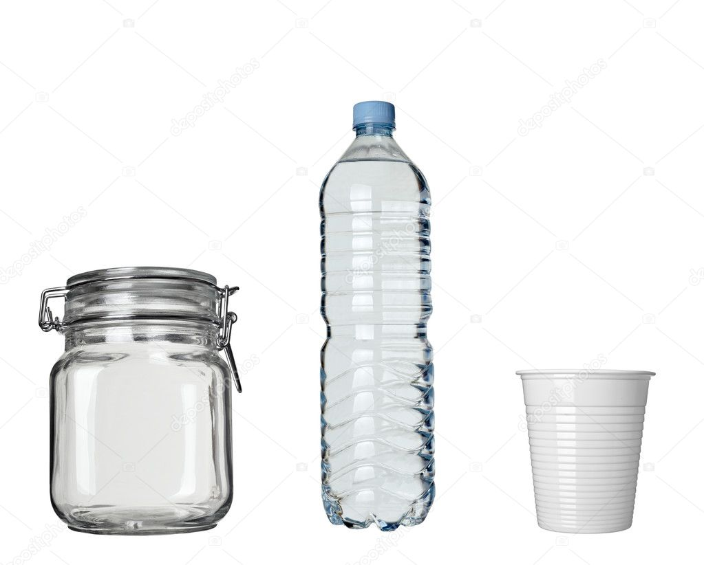 Collection of plastic cup, jar and bottle on white background. each one is in full cameras resolution — Stock Photo #11225596