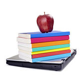 Laptop computer books apple fruit food education school — Stock Photo