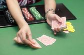 Casino card chip — Stock Photo