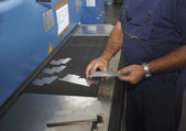 Laser cutting aluminum factory industry manufacturing — Stock Photo