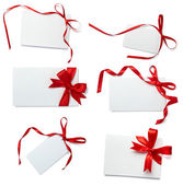 Red ribbon card note collection — Stock Photo