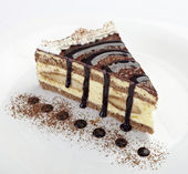 Cream chocolate cake sweet food — Stock Photo