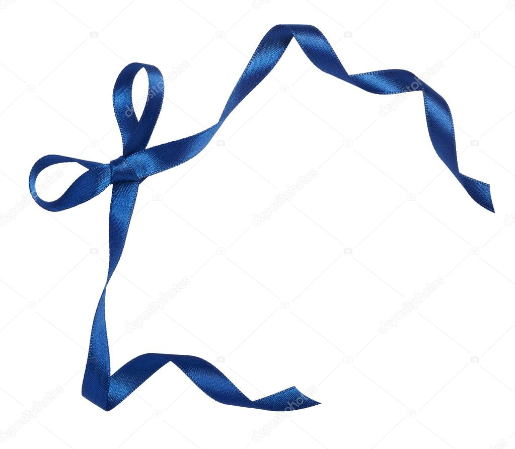 Close up of blue ribbon on white background  with clipping path — Stock Photo #11381433