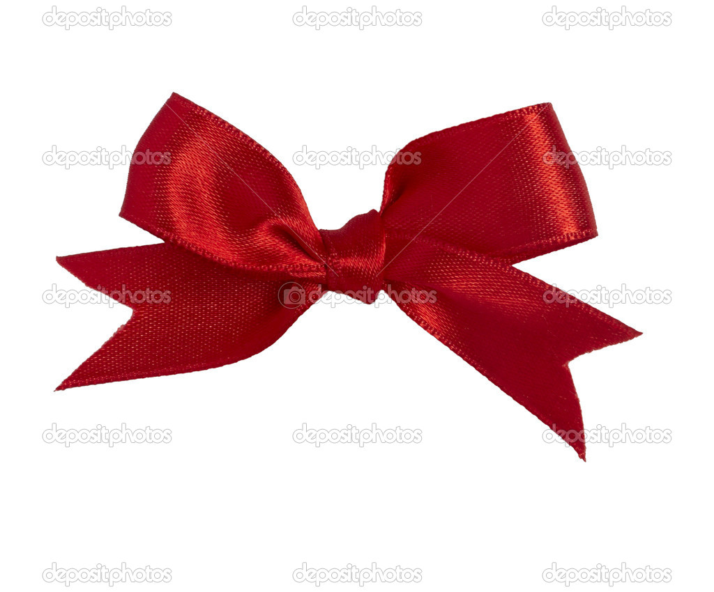 Close up of   red ribbon on white background  with clipping path — Stock Photo #11381488