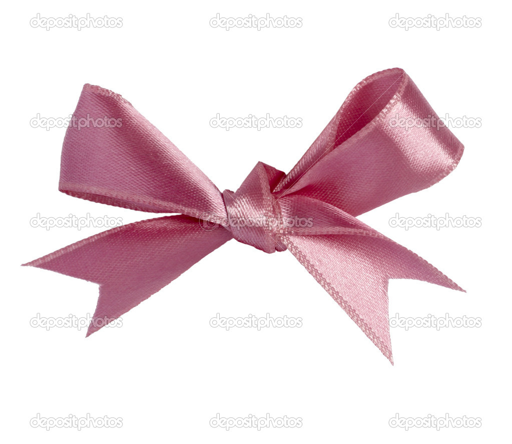 Close up of pink ribbon on white background  with clipping path — Stock Photo #11381512