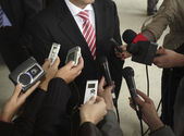 Business meeting conference journalism microphones — Foto Stock