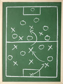 Chalkboard classroom soccer tactics team sport coach — Stock Photo