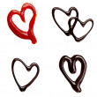Chocolate syrup ketchup leaking heart shape love sweet food — Stock Photo #11409431