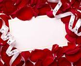 Carte de voeux remarque rose pétales fête noël amour — Photo