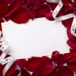 Greeting card note rose petals celebration christmas love - 图库照片