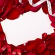 Greeting card note rose petals celebration christmas love — Foto de Stock