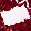 Greeting card note rose petals celebration christmas love - Foto Stock