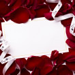 Greeting card note rose petals celebration christmas love — Lizenzfreies Foto