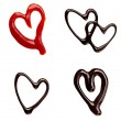 Chocolate syrup ketchup leaking heart shape love sweet food — Stock Photo #11412071