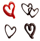 Chocolate syrup ketchup leaking heart shape love sweet food — Stock Photo