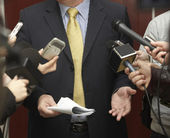 Business meeting conference journalism microphones — Stock Photo