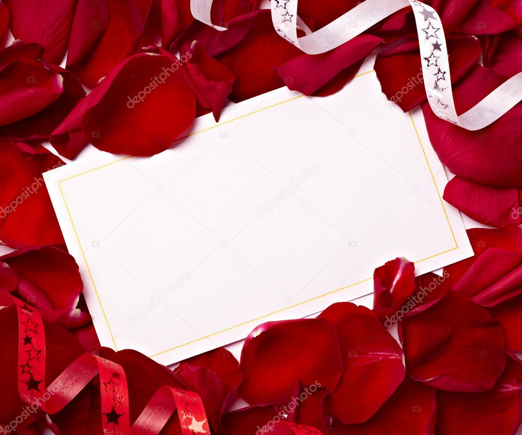 Close up of greeting card dwith rose petals decoration  Stock Photo #11410772