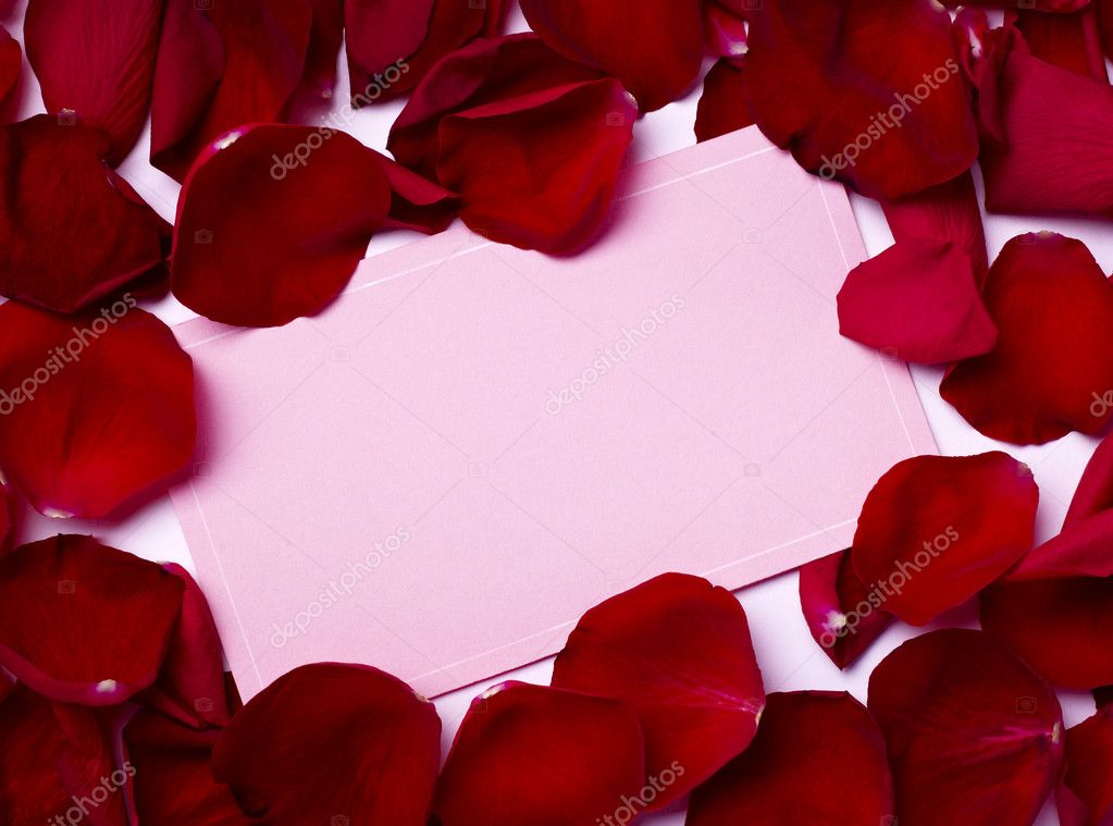 Close up of greeting card dwith rose petals decoration — Foto Stock #11410818