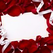 Greeting card note rose petals celebration christmas love — Stock Photo
