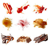 Ketchup chocolate coffee wine food stains — Stock Photo