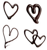 Chocolate syrup leaking heart shape love sweet food — Stock Photo