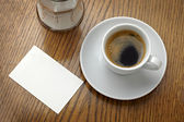 Coffe cup drink and blank note card — Stock Photo