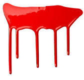 Red paint leaking art — Stock Photo