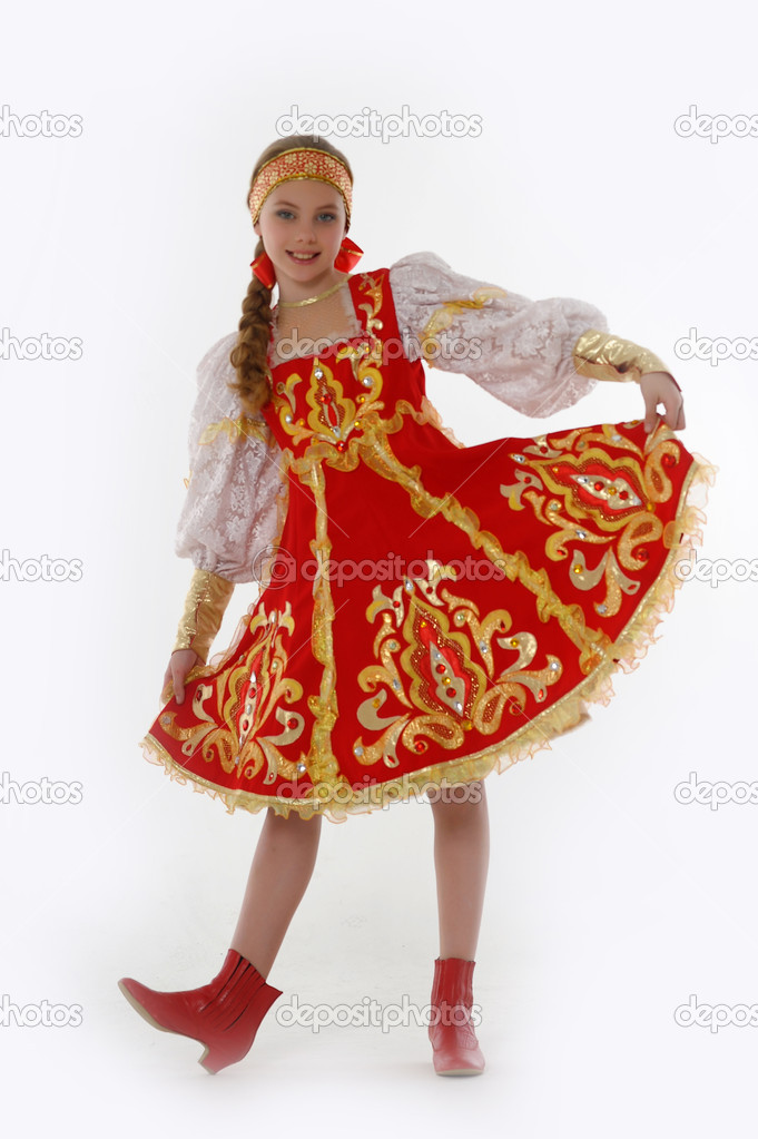 Girl in russian traditional clothing stock photo for Traditional photos