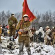 Military historical reconstruction of World War II. - Foto Stock