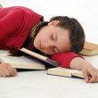 The student fell asleep preparing for examinations — Stock Photo