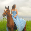 Girl in long dress with a horse — Stock Photo